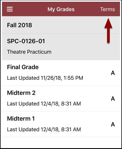 grades screen