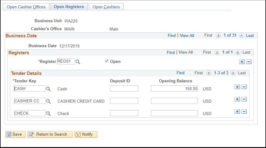 Open Registers tab