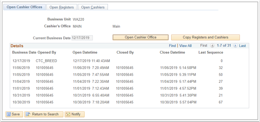 Open Cashier Offices tab
