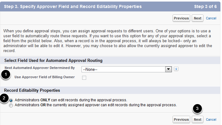Specify Approver Field and Record Editability