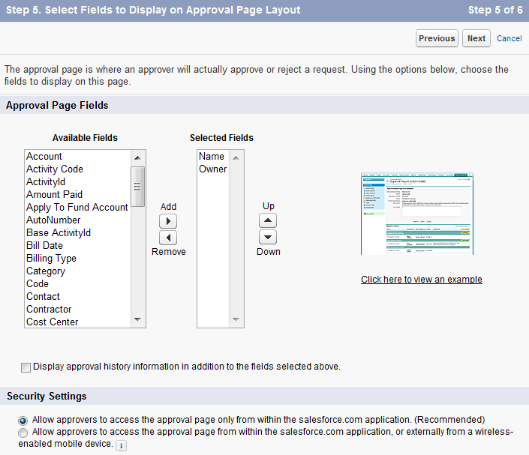Configure Approval Request Page Layout