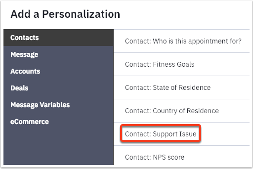 support issue custom field personalization tag