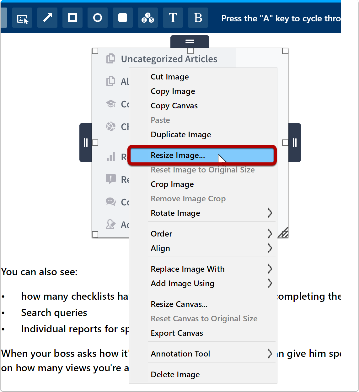 Resizing an image using the contextual menu