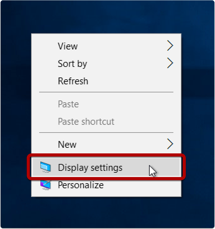 Open Display settings
