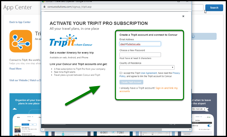 Green arrow pointing towards creating a TripIt Account.