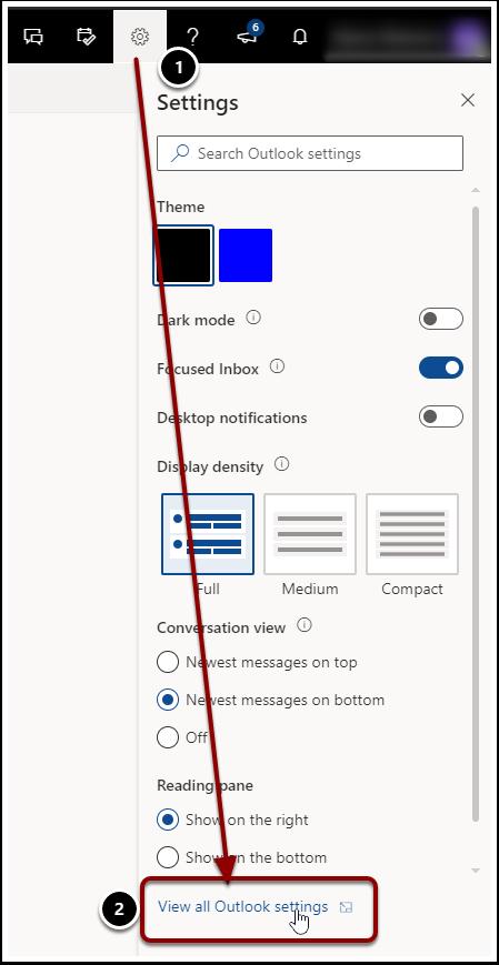 Outlook Settings Gear