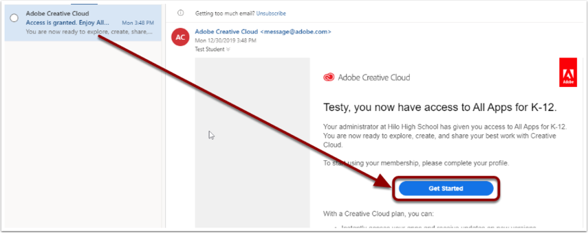 Mail - Test Student - Outlook - Google Chrome
