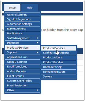 Navigate to Setup > Products/Services > Products/Services