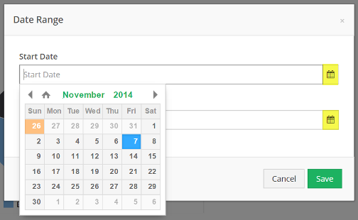 Select dates from the calendar element on the right