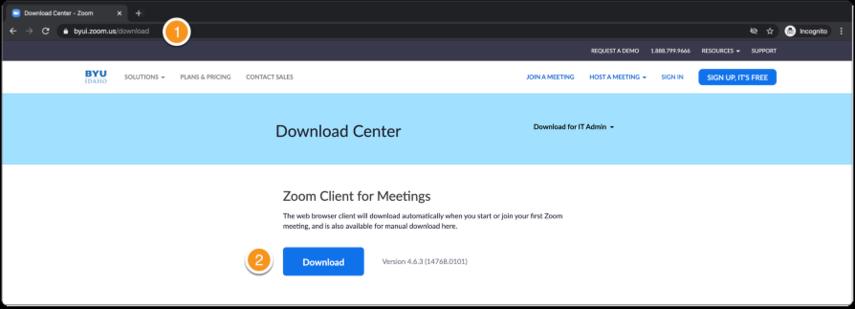 Zoom download center for desktop app