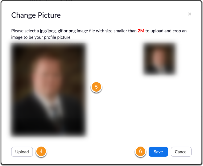 Zoom profile image upload and edit screen