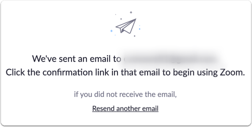 Zoom e-mail confirmation page