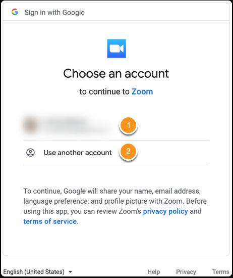 Google login screen for Zoom
