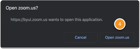 Zoom confirmation to open application