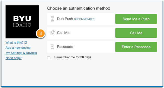 Duo two-factor authentication for BYU-Idaho
