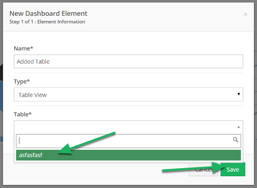 A new section will be added to select the table to view. Select the table to add, and click Save