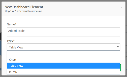 Name the Element, and select Table View from the Type drop-down