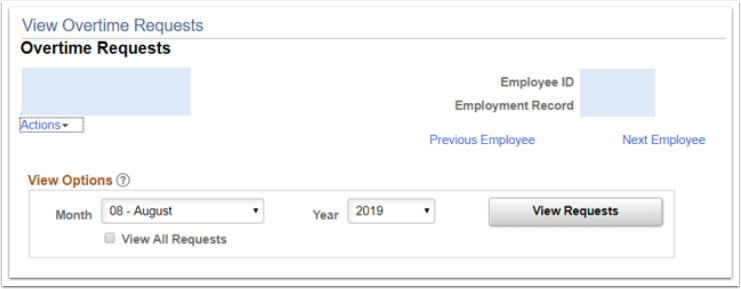 View overtime request page, view options