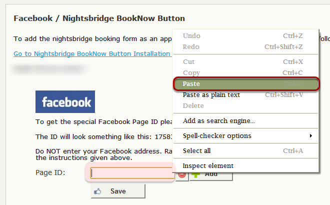 Right click in the Page ID field and select PASTE - this will paste in the ID nr copied earlier