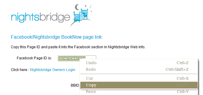 Highlight the page ID, right click and COPY