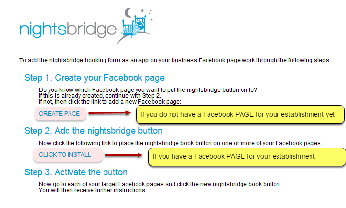 If you already have a Facebook PAGE for your business, click on INSTALL. If you do not, click on CREATE PAGE