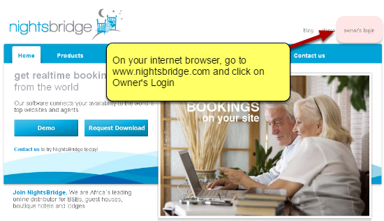 Go to Owner's Login on www.nightsbridge.com