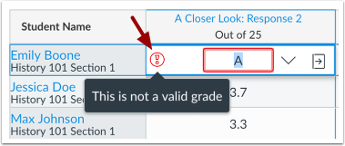 View GPA Grade Validation Error