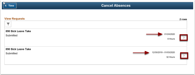 Cancel Absences page, view requests section