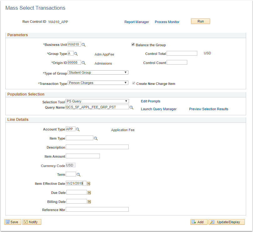 Image of Mass Select Transactions Page