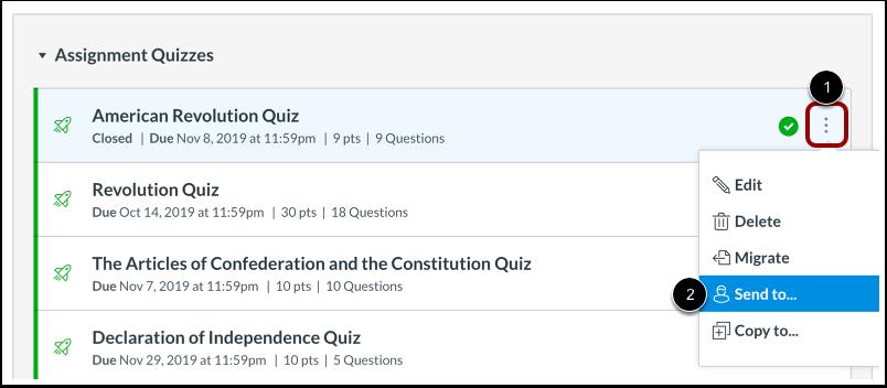 Open Quiz Options
