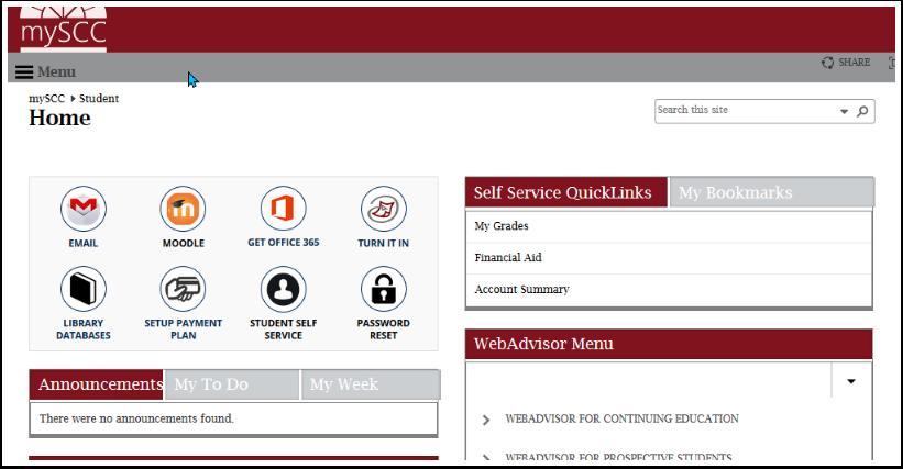 mySCC home page
