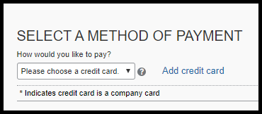 Selecting method of payment for the airfare expense.