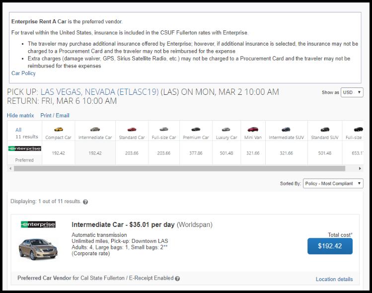 Car rental matrix displaying purchase options.