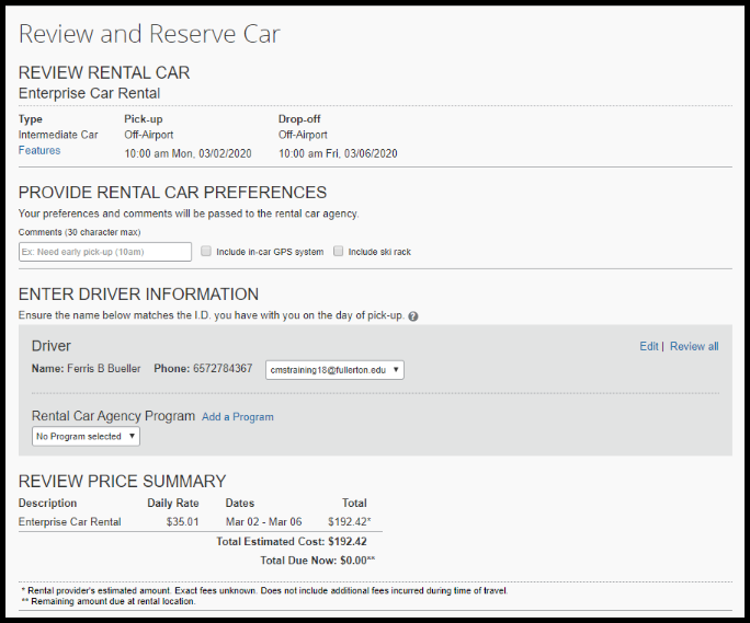 Review the information to confirm the correct rental car was selected.