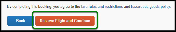 Green box indicating Reserve Flight and Continue button.