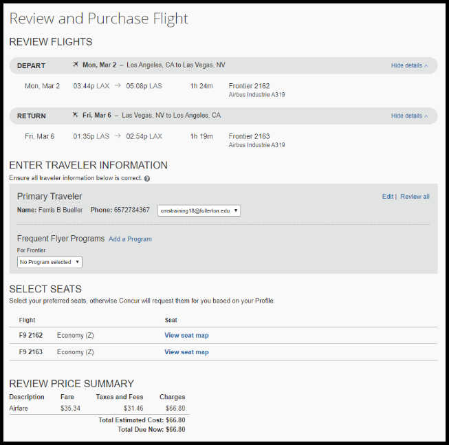 Confirming the flight information is listed correctly.