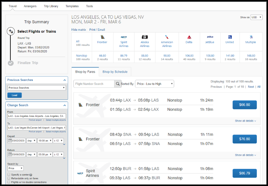 Airfare matrix displaying travel options.