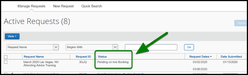 Green box and arrow indicating status of Pending on-line booking.