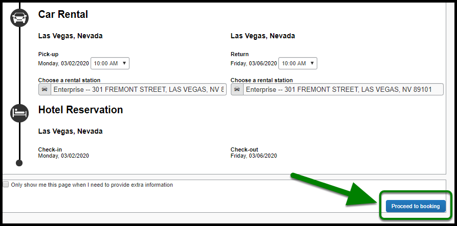 Green arrow and box indicating Proceed to booking option.