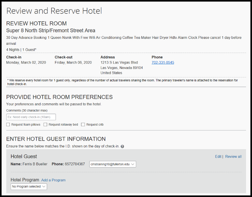 Confirm that the information is listed correctly on your hotel reservation.