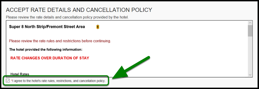 Green arrow and box highlighting location hotel's rules and restrictions.