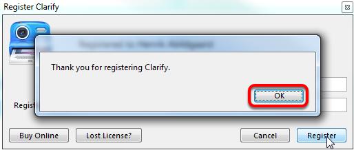 """Klik nu på: """"OK"""" og dit program er nu registreret"""
