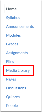 Media Library in Course Navigation