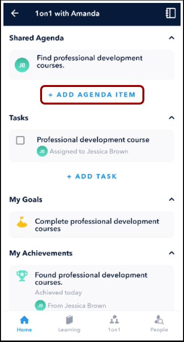 Add Agenda Item screen