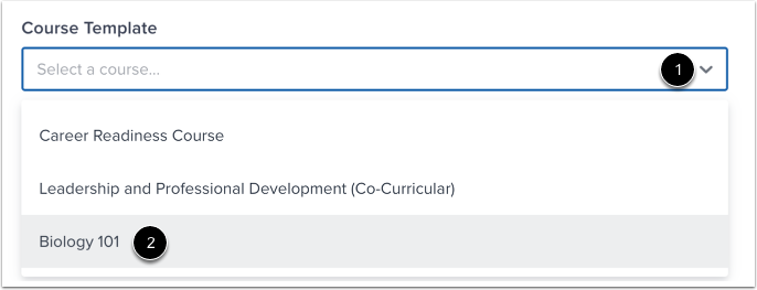 Select Course Template