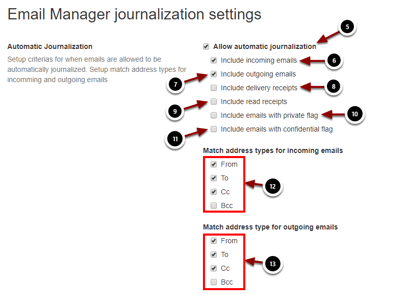 Email Manager journalization settings - Google Chrome