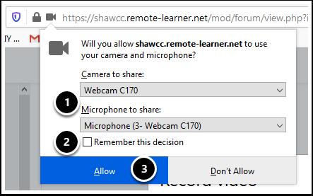 Camera permissions window