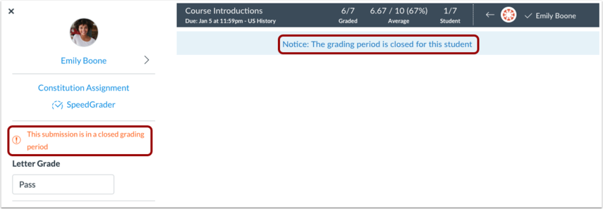 View Closed Grading Periods
