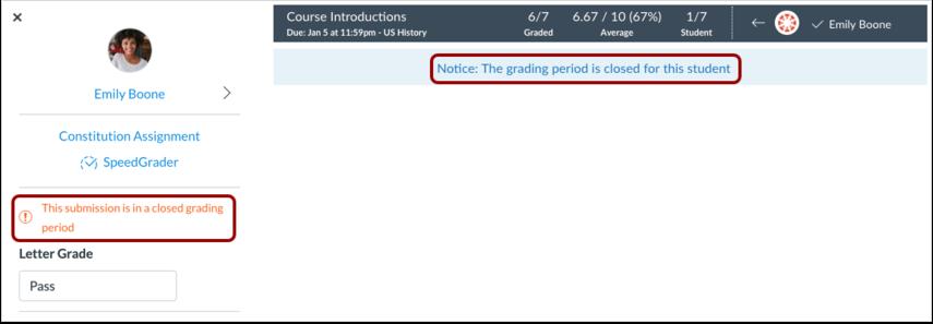 Ver períodos de calificación cerrados