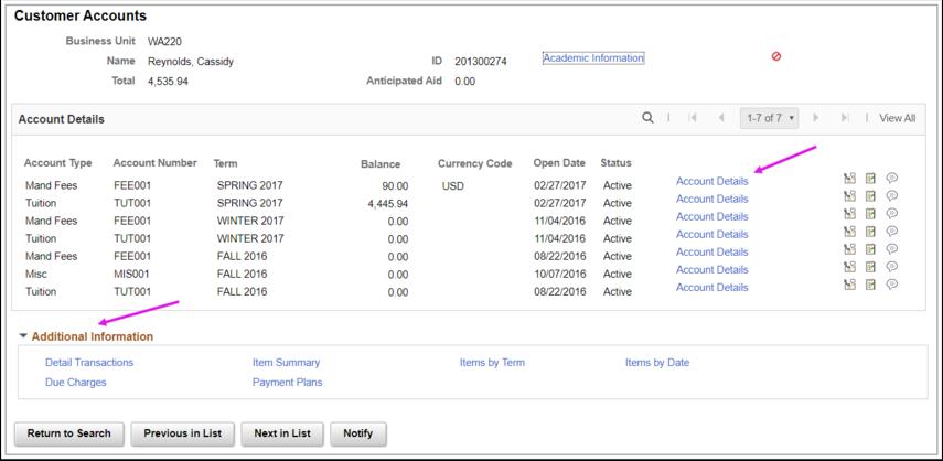 Customer Accounts page
